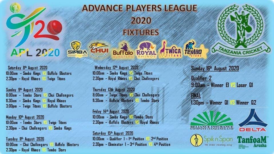 Tanzania APL T20 fixture, schedule